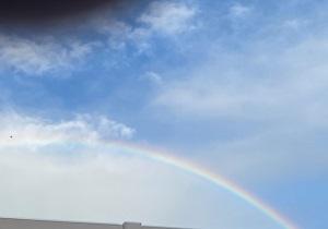東京の空に大きな虹が: ハワイの神話ではメネフネが虹を作ったと伝えられています☆彡